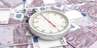 Stopwatch, timer on euro banknotes background. 3d illustration royalty free illustration