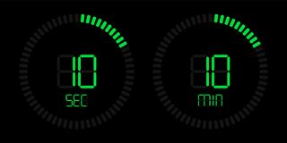 Stopwatch timer green digital time countdown vector illustration