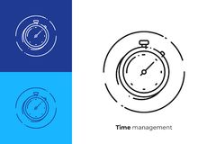Stopwatch timer line art vector icon. Finance timemanagement line art icon, business clocks vector art, outline digital turnaround time illustration Stock Photo