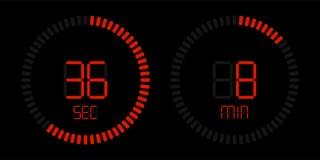 Stopwatch digital red countdown timer stock illustration
