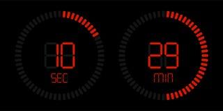 Stopwatch timer vector digital red countdown vector illustration