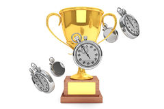 Stopwatch with Trophy Stock Images