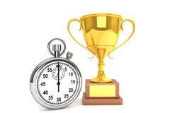 Stopwatch with Trophy Royalty Free Stock Photography