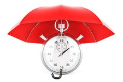 Stopwatch under blue umbrella, 3D rendering. Isolated on white background Stock Image