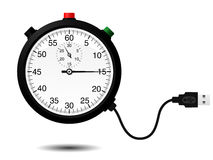 Stopwatch with USB cable. Isolated stock illustration