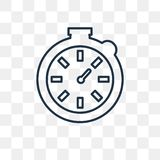 Stopwatch vector icon isolated on transparent background, linear royalty free illustration