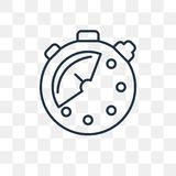 Stopwatch vector icon isolated on transparent background, linear vector illustration