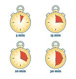 Stopwatch vector illustration set with various timing duration. 5 minutes, 15 minutes, 20 minutes and 30 minutes Royalty Free Stock Image