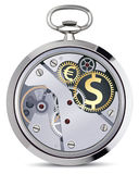 Stopwatch works with coins Royalty Free Stock Image