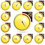 Stopwatch - Yellow Timers Set. Vector Illustration Stock Image