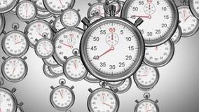 Stopwatches falling on grey background stock illustration