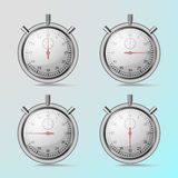 Stopwatches metal. Showing 15, 30, 45, 60 seconds, with reflections and shadows on turquoise background Royalty Free Stock Images