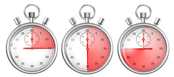 Stopwatches set isolated with red time periods Stock Photo