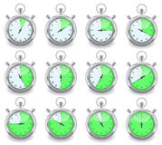 Stopwatchs. Set of stopwatch witch show different time Stock Photo