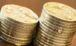 Stopy procentowej narastający pojęcie - pieniądze monety Fotografia Royalty Free