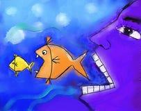 Stor äter den lilla fisken. Vektor Illustrationer