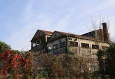 stor abbandoned fabrik med den höga lampglaset i Europa Arkivbild