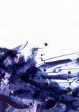 Stor abstrakt vattenfärgbakgrund Livlig blått och den purpurfärgade frihandsborsten befläcker, prickar och fläckar i fast textur  royaltyfria foton