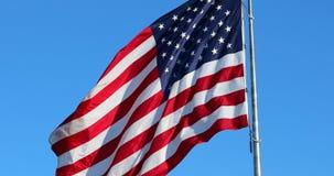 Stor amerikanska flaggan som vinkar i vinden lager videofilmer
