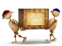 stor ask som 3d carring wood trä för man två Royaltyfri Fotografi