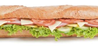 Stor bagettsmörgås på vit bakgrund Arkivbild