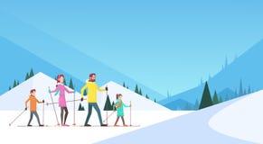 Stor bakgrund för berg för sport för snö för semester för ferie för familjskidåkningvinter stock illustrationer