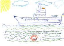 stor barnteckning s för slagskepp vektor illustrationer