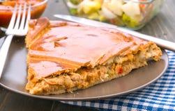 Stor bit av pajen som är välfylld med tonfisk Fotografering för Bildbyråer