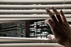 stor biznesowego mężczyzna otwarcia widzieć góruje okno Fotografia Royalty Free