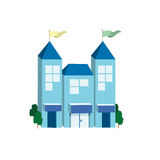 Stor blå byggnad för symbol Arkivfoton