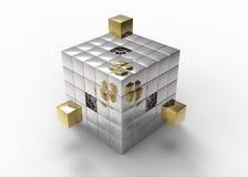 stor blockbyggandekub som fyller guld- hål till Arkivbild