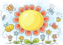 Stor blomma stock illustrationer