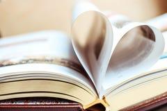 Stor bok med guld- sidor i bilden av herten Förälskelseläsebokbegrepp royaltyfri fotografi