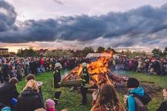 Stor brand för påsk i Potsdam Fotografering för Bildbyråer