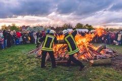Stor brand för påsk i Potsdam Arkivbild