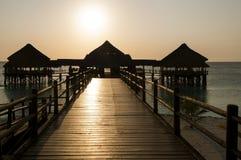 Stor brygga i tropisk solnedgång Arkivfoto