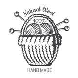 Stor bsket med garnbollstickor Logo för plats eller affär för hantverk släkt vektor illustrationer