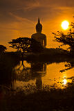 Stor Buddha på Wat Muang i solnedgången, Thailand Arkivbilder