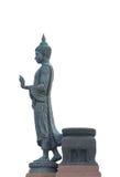 Stor buddha statysida som går på vit bakgrund Royaltyfria Foton
