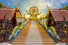 stor buddha tempel på Koh Samui, Thailand Härliga tempel arkivfoto