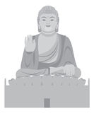 Stor Buddhasammanträdestaty Front Grayscale Vector Illustration stock illustrationer