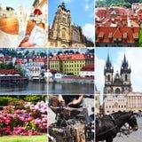 Stor collage av landskap och dragningar av staden Prague f?r republiktown f?r cesky tjeckisk krumlov medeltida gammal sikt rocker arkivbilder