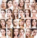 Stor collage av olika härliga kvinnor fotografering för bildbyråer