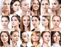 Stor collage av olika härliga kvinnor royaltyfri foto
