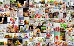 Stor collage med olika varma och varma drinkar Arkivfoton