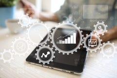 Stor dataanalytics Begrepp för BIaffärsintelligens med diagram- och grafsymboler på den faktiska skärmen stock illustrationer