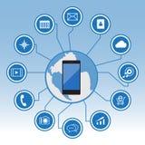 Stor datasymbolsuppsättning, smart telefon med symboler Arkivfoto