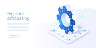 Stor datateknologi i isometrisk vektorillustration Informatio royaltyfri illustrationer