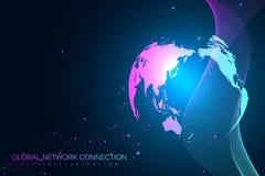 Stor datavisualization med ett världsjordklot Abstrakt vektorbakgrund med dynamiska vågor Anslutning för globalt nätverk vektor illustrationer