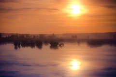 Stor dimmig solnedgång över träsk Arkivfoto